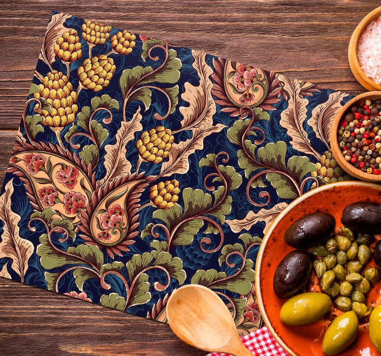 TenStickers. Realistic Paisley Illustration paisley placemats. A stunning colorful home place mat with realistic paisley design.  It has an original textural appearance of a paisley in beautiful colours.