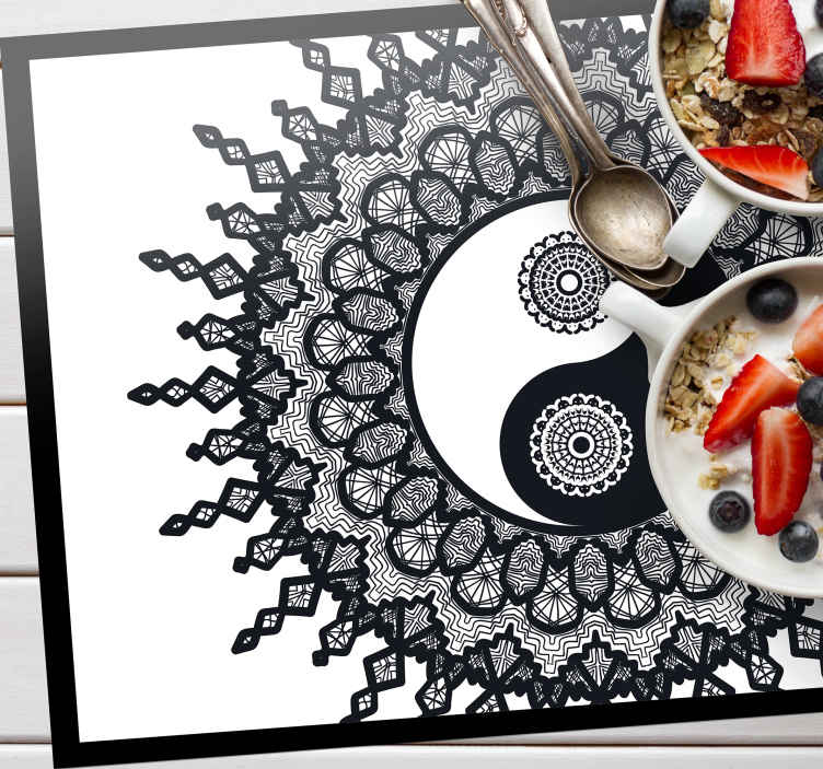 TenStickers. Ying Yang paisley paisley vinyl placemats. An amazing place-mat with paisley design to keep that table setting complete for dinning. It is easy to maintain and anti allergic.