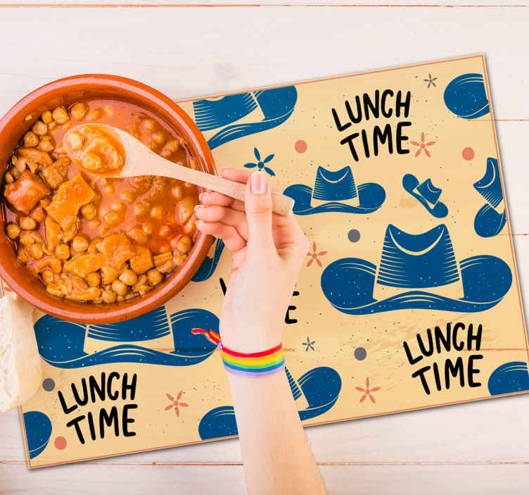 TenStickers. Cowboy hat Other colors vinyl placemats. A lovely cowboy theme home place mat with the design of a cowboy's hat and ''lunch time'' text. Suitable for both home and restaurants.