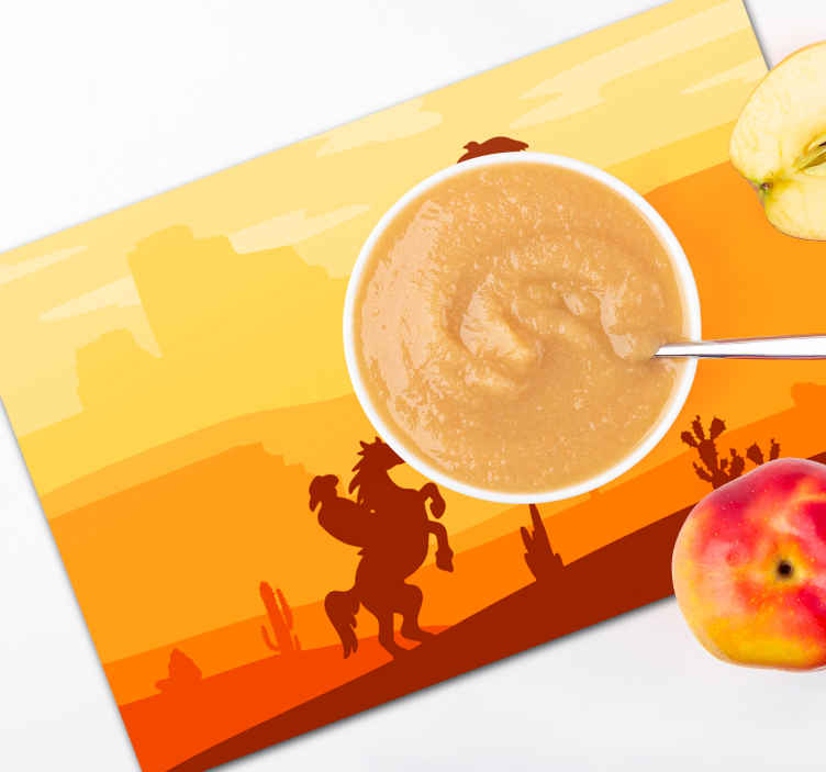 TenStickers. Cowboy Landscape children vinyl placemats.  Cowboy landscape children place-mats to enjoy meal on a dinning table. A design featured with desert skyline and a cowboy riding on a horse.