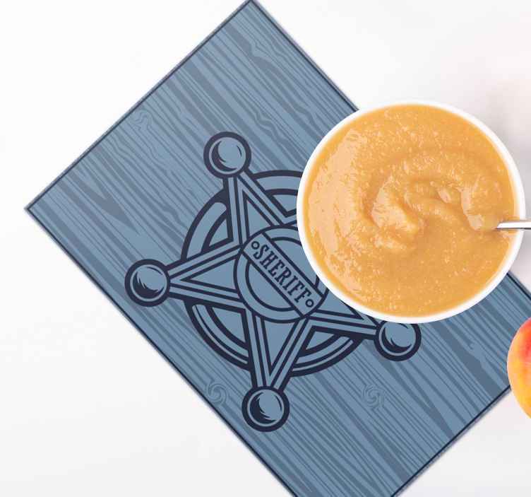 TenStickers. Cowboy star icon children vinyl placemats. Enjoy every meal like a sheriff officer on our cowboy theme vinyl place-mat designed with a sheriff officer's star badge on blue textured background.