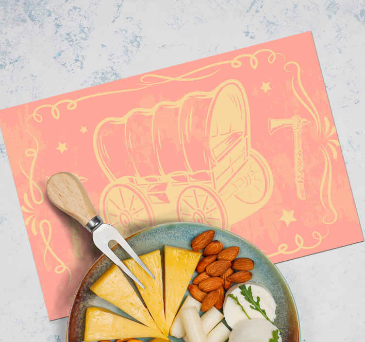 TenStickers. Cowboy wagon pattern children vinyl placemats. Enjoy our cowboy place mat on your dinning space with the design of a cowboy wagon. The design place-mat is for kids and it is easy to maintain.