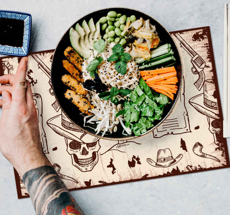 TenStickers. Tovaglietta colazione altri colori Icone occidentali. Tovagliette icone occidentali per migliorare il tavolo da pranzo con lo stile e l'impressione del cowboy. Il prodotto è realizzato con materiale di alta qualità.