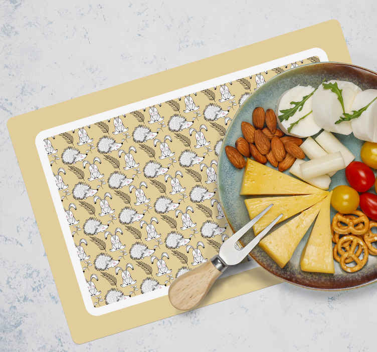 TenStickers. Porcupine and rabbits hedgehog vinyl placemats. An amazing home place-mat  featured with several prints of porcupines on a subtle colour background. The product is made of high quality.