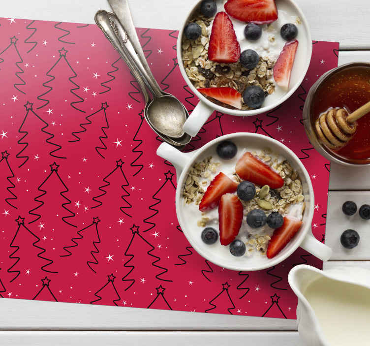 TenStickers. Christmas tree Line Christmas vinyl placemats. Christmas tree line patterned place-mats design for home and restaurants. The product is made with high quality material and easy to maintain.