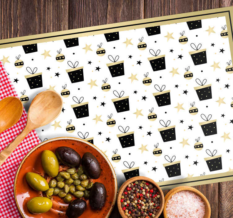 TenStickers. Elegant gift box pattern Christmas vinyl placemats. Looking for a simple and pretty Christmas placemat for your home? We got you covered with our original coloured home placemat featured with elements.