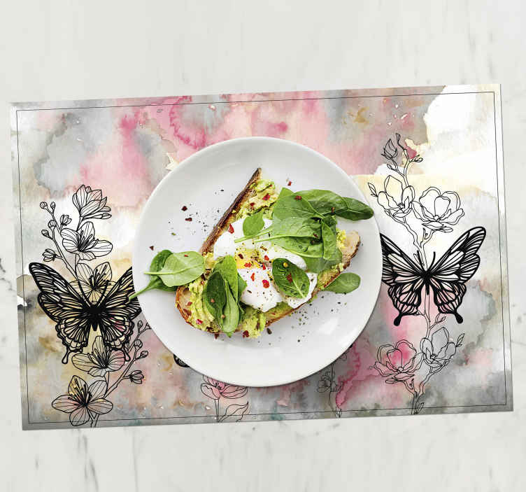 TenStickers. art butterfly butterfly table mats. Placemats with elegant butterflies, perfect as a decoration for a kitchen table. Made of high quality material, durable and resistant.