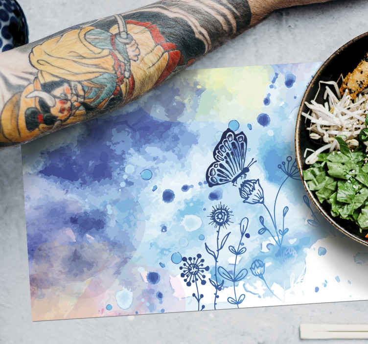 TenStickers. Water colour butterfly table mats. This stunning butterfly placemat features a drawn butterfly landing on a group of flowers. Extremely long-lasting material.