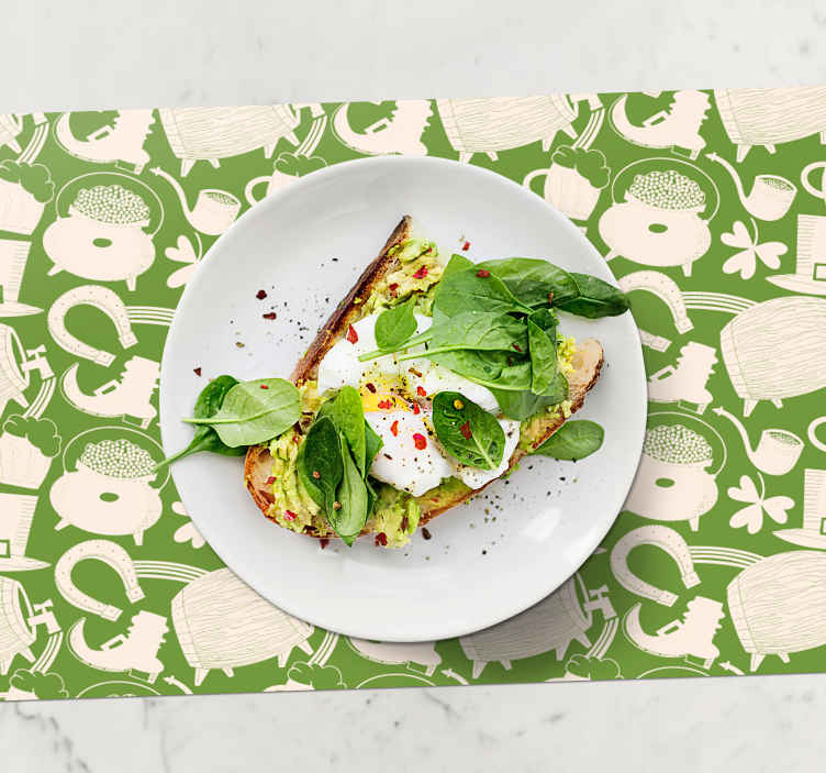 TenStickers. Irish lover original vinyl placemats. Full of pictures original placemats are an exceptional product that caught attention due to those different colors. Easy to clean.