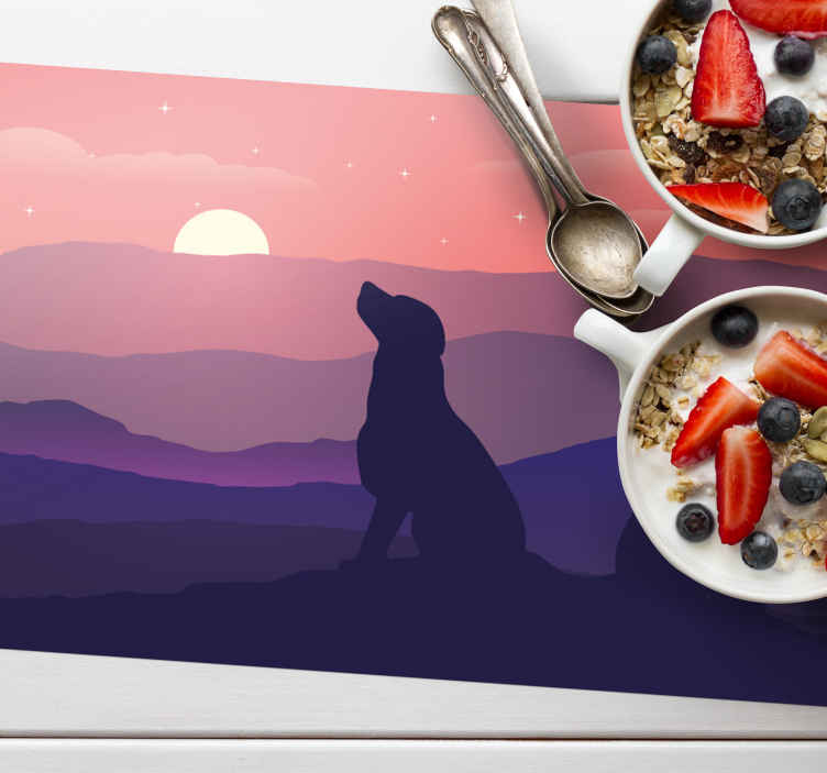 TenStickers. sunset and dog Placemats. A beautiful dog and sunset placemat to elevate your tables look in the presence of guests! Choose yours today and get eating!