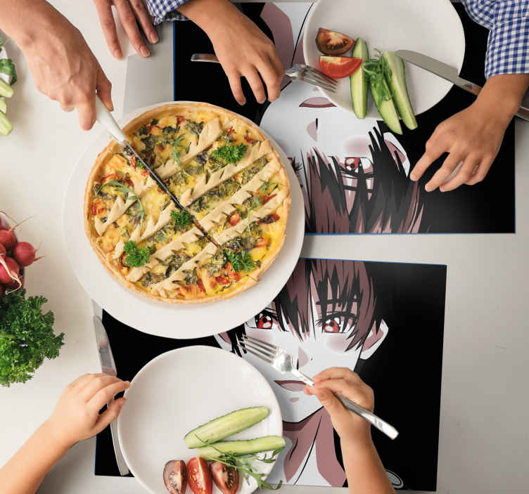 TenStickers. Placemat voor huis Manga. Een originele cartoon placemat met het ontwerp van grafische cartoon. Geschikt placemat-ontwerp voor kinderen om van een geweldige ervaring aan een eettafel te genieten.