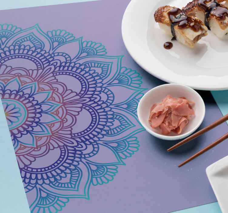 TenStickers. Half mandala Placemats. Beautiful mandala design of placemat. Impress your guest, friends and family with  our purple background mandala placemat laid on a dinning table.
