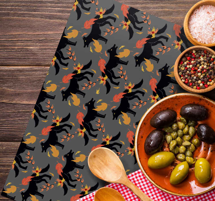TenStickers. Wolf Pattern Placemats. Beautiful placemat for home. Set of placemat for lovers of table mat, it design contains wolf animal and ornamental flower.