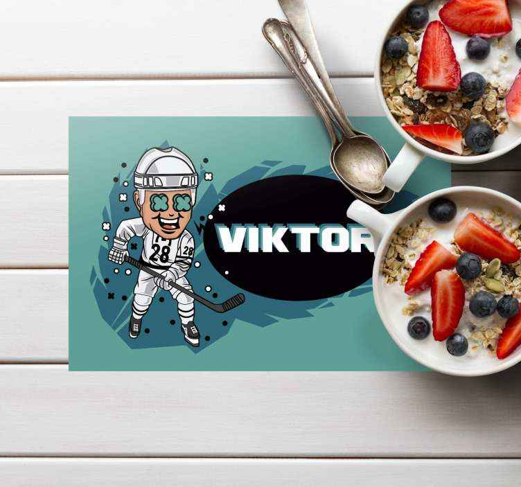 TenStickers. Funny hockey Player with name Personalised table mats. This sports themed kids personalised placemat will look incredible on your table and add so much character. Meal time has never been so much fun!