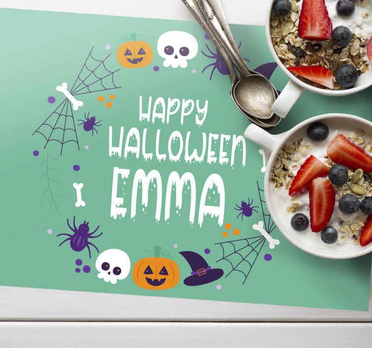 TenStickers. personalized happy halloween Other colors vinyl placemats. Impress your guest and loved ones with this customised placemats. Is is easy to maintain and highly durable, you can clean it as much is needed.