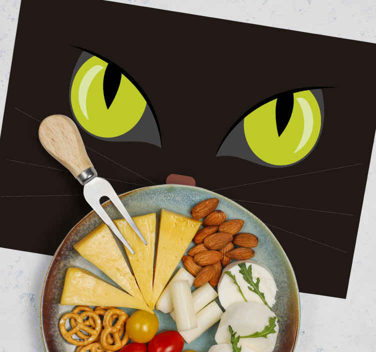 TenStickers. frightful black halloween cat Halloween table mats. halloween table mats depicting a frightful face oh a black cat looking at you. It has high resistant ability and can be cleaned as much as needed.