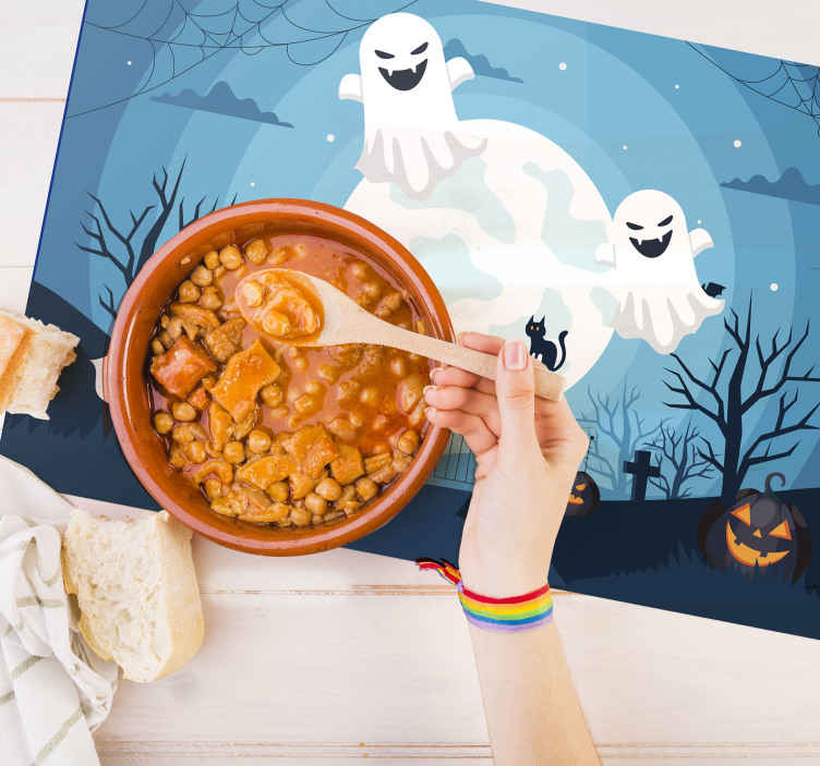 TenStickers. Scary Ghosts Halloween table mats. This amazing Halloween placemat design features a creepy looking cemetery at night with spooky trees and pumpkins. Anti-bubble vinyl.