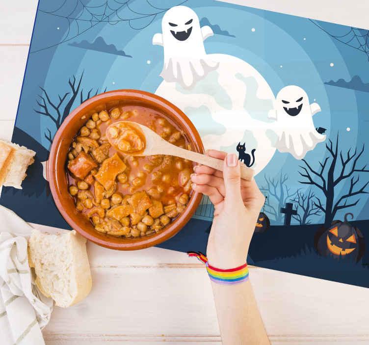 Tenstickers. Läskiga spöken halloween bordsbordstabletter. Denna fantastiska halloween bordstabletterdesign presenterar en läskig kyrkogård på natten med spöklika träd och pumpor. Anti-bubbla vinyl.