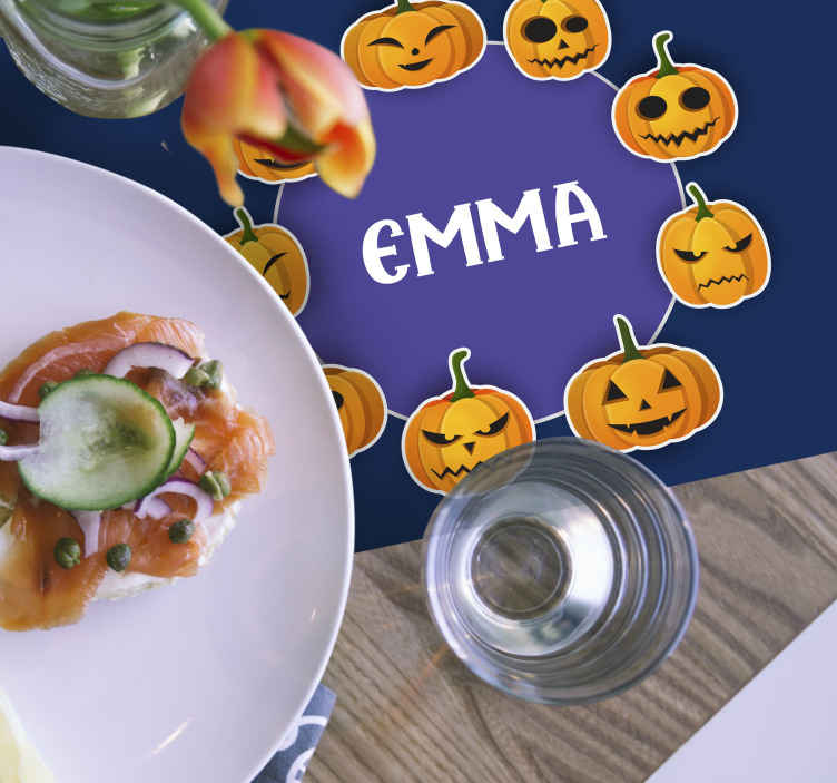 TenStickers. personalized placemat with bright cupkins Halloween table mats. placemats for home simple happy halloween t for kids. It comes with different happy emoji faces depicting happy pumpkins
