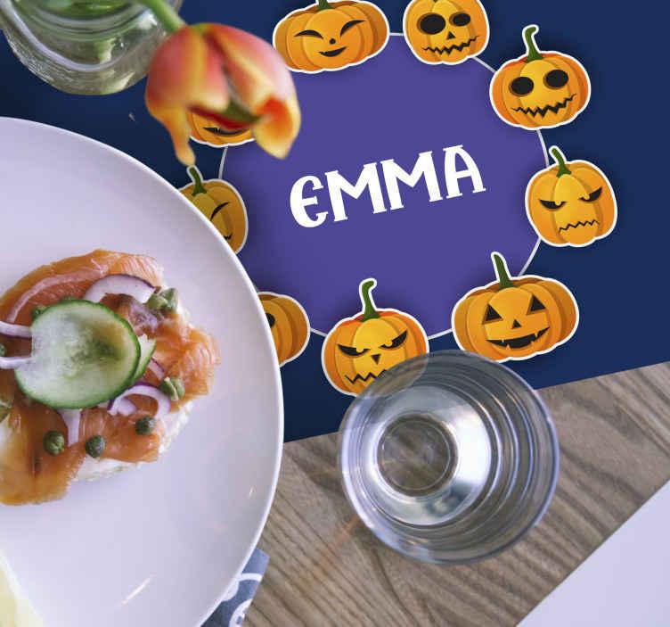 Tenstickers. Personlig bordsskiva med ljusa cupkins halloween bordsbordstablet. Bordstabletter för hem enkla glada halloween t för barn. Den kommer med olika glada emoji-ansikten som visar glada pumpor