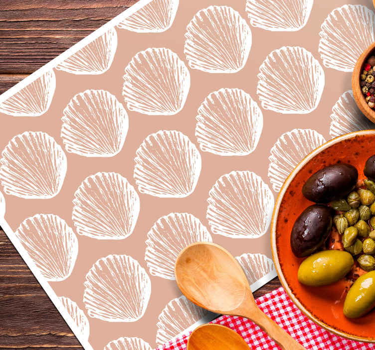 TenStickers. Retro Seashell Pattern beige  shell placemats. these vintage shell placemats are featured with various hand drawn seashells in a sepia background. They are wasy to clean.