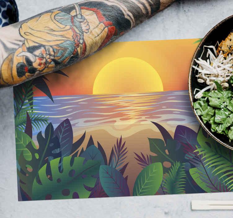 TenStickers. Individuais de mesa em vinil Sol 70's Retro sun bearch. Um individual de mesa de vinil caseiro com praia de sol retrô para a sala de jantar. é feito de materiais de alta qualidade e não vai desbotar, compre-o.