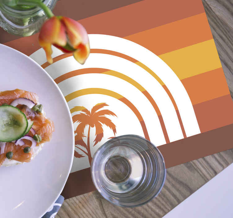 TenStickers. Retro sunset and palms 70's sun vinyl placemats. 70s placemat which features an image of a palm tree in the sunset coloured in shades of orange, yellow and brown. Discounts available.