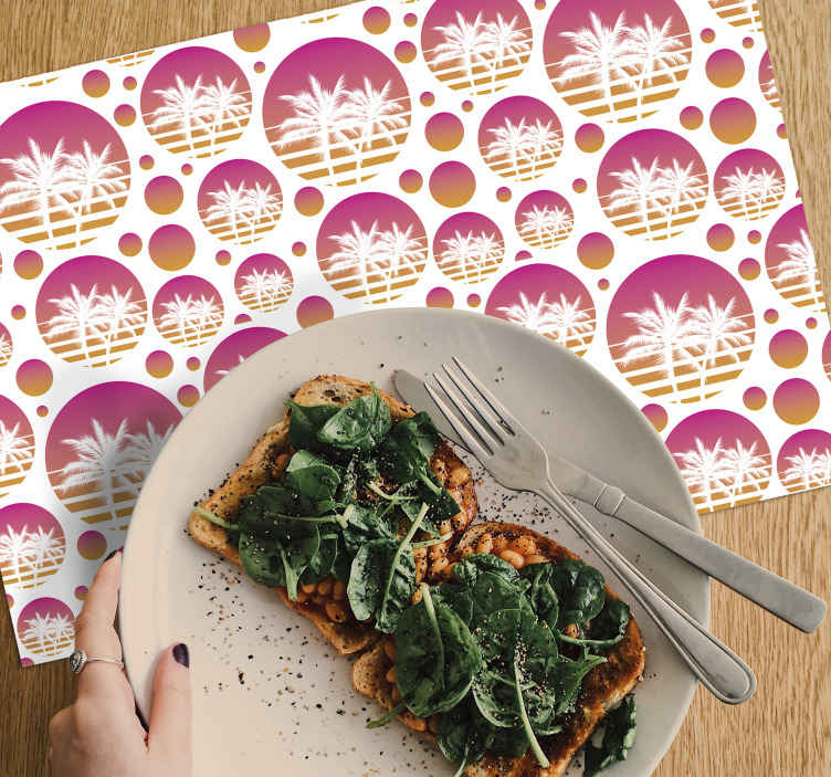 TenStickers. Sunset Vintage Landscape pattern 70's vinyl placemats. The perfect way to decorate your dining table with this palm trees on circles placemat on a white background. Delivered to your front door!