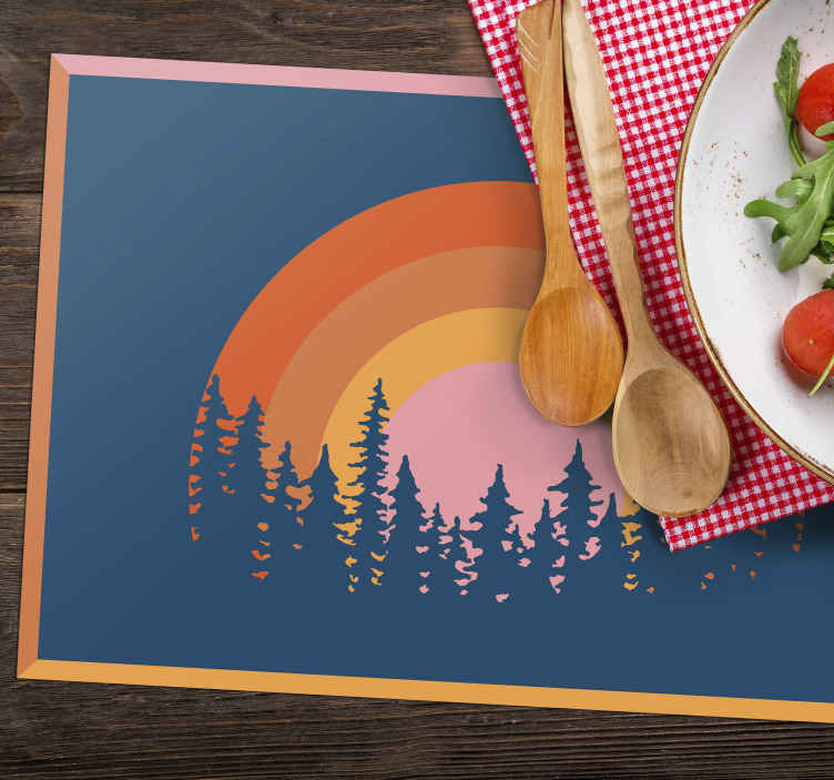 TenStickers. Vintage Sun 70's sun vinyl placemats. A vintage sun and forest trees placemat to decorate your table and keep it clean. Sets from 1 to 8 for you to choose from.