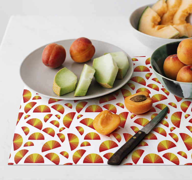 TenStickers. Vintage Sunset pattern 70's sun vinyl placemats. A vintage sunset on white background placemat to give your dining table the best look and protection. High quality product!