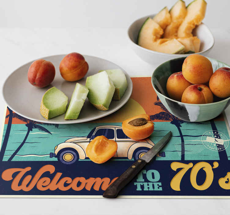 TenStickers. Welcome to 70's 70's sun vinyl placemats. An awesome and original way to decorate your dining room with this welcome to the 70's sticker with a car and the beach.