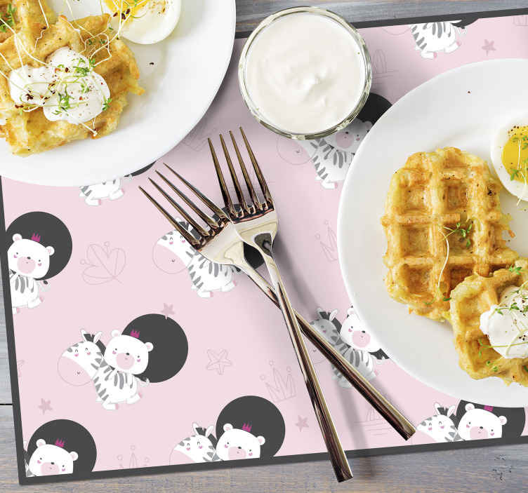 TenStickers. Cute baby Zebra and Bear placemat. Animal placemat which features an adorable pattern of an image of a zebra and bear. High quality materials used. Custom made.
