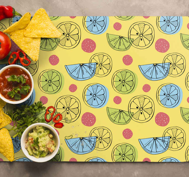 TenStickers. Pink spot Lemon citrus table mat. Lemon placemats which features a lovely pattern of citrus fruits with pink spots surrounding them. High quality materials.