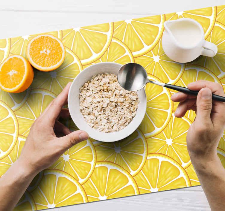 TenVinilo. Mantel individual patrón naranja. Mantel individual rectangular perfecto para el desayuno, el almuerzo o la cena. Diseño con patrón naranja para la mesa del hogar ¡Envío exprés!