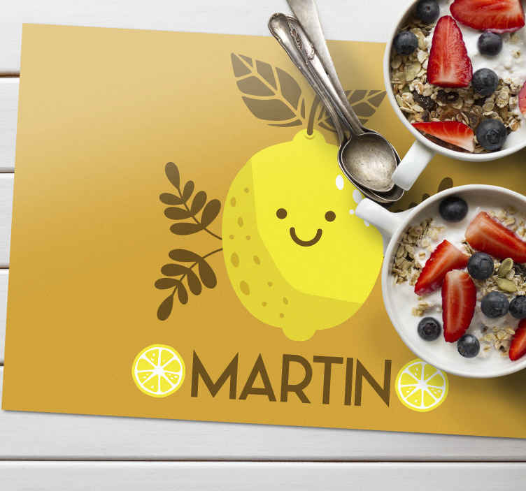 TenStickers. Smiling lime Personalised table mats. Funny Smiling lemons personalized table mats perfect to decorate your household table or office table.it is anti allergic and lasts long time