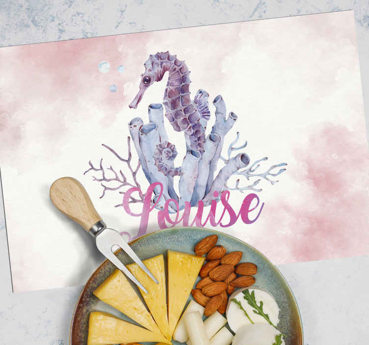TenStickers. Watercolor Seahorse NAME Personalised table mats. Would you like to have your own personalised placemat with your name.