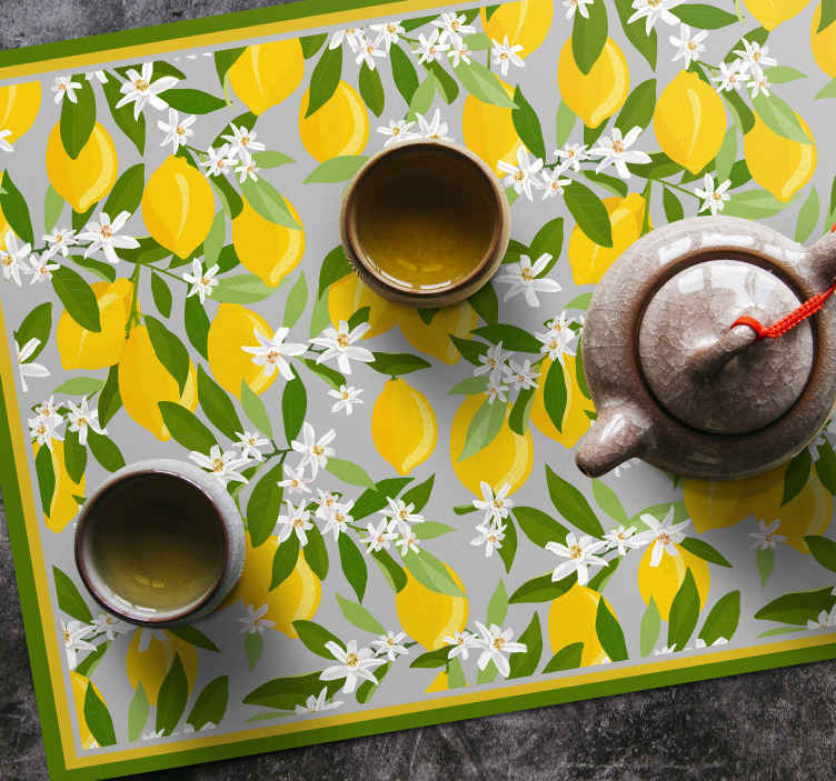 TenStickers. MANTEL Lemoon tree frame citrus table mat. Citrus table mat with the design of many whole lemons with green leaves, ideal for you to decorate your table with cheerful colors.