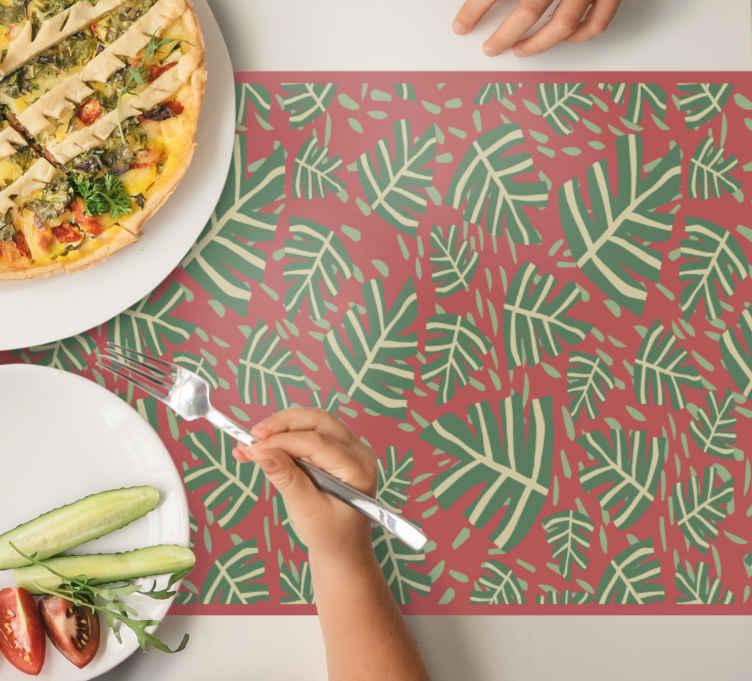 Image of Tovaglietta colazione elegante Foglie di maranta rossa