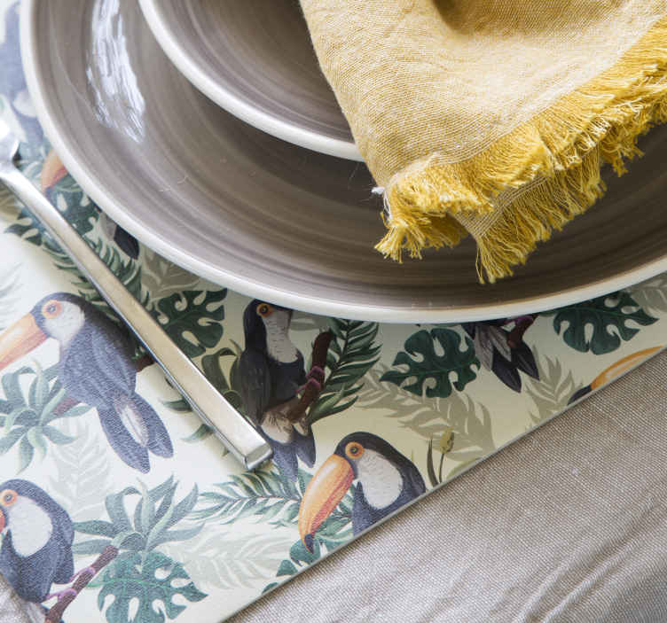 TenStickers. Toucans textured vinyl placemats. Fantastic placemants for home with the animal print full of toucans - everyone will be amazed with that! Antiallergic material!