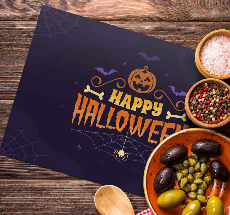 TenStickers. Happy Halloween placemat. Featured placemat design from our Halloween theme design. A black background design hosting scary pumpkin, flying bats and the text 'happy Halloween'.