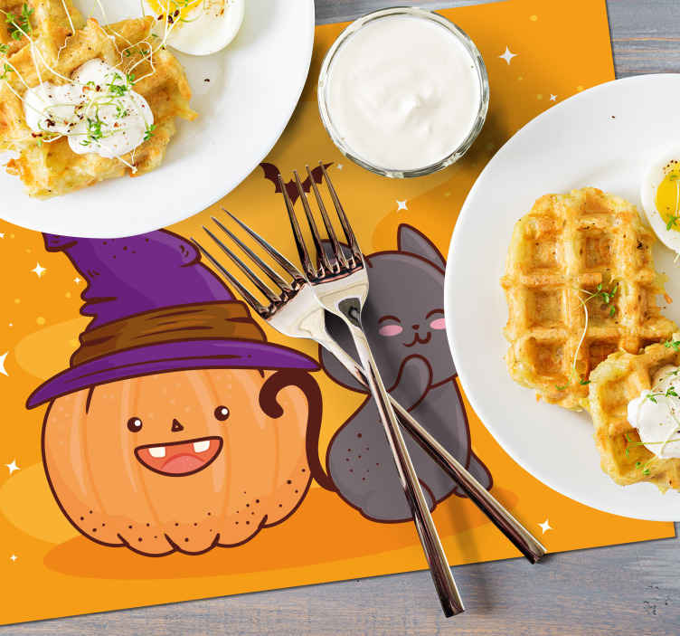 TenStickers. Pumpkin head witch children vinyl placemats. Ideal children placemat featured with an orange pumpkin  with stars and a cat close to the pumpkin. Easy to maintain and of high quality.