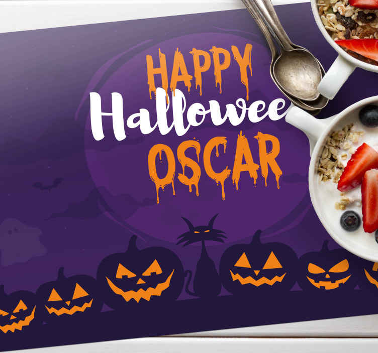 TenStickers. Customized happy Halloween name vinyl placemats. Customized name happy Halloween placemats. A perfect addition to your home to enjoy drink during Halloween. Easy to maintain and of made high quality.