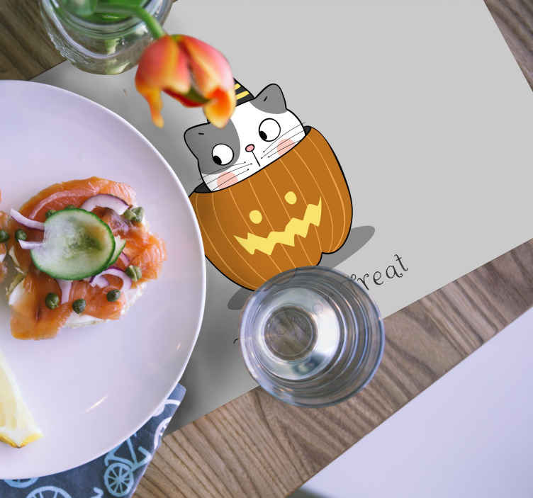 TenStickers. Cute Halloween children vinyl placemats. Cute Halloween kids place-mat design. The design is featured with a cat inside a pumpkin. Original, durable and easy to maintain.