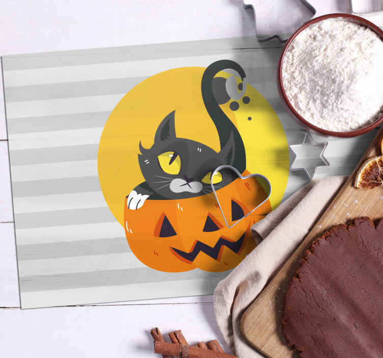 TenStickers. Pumpkins & black cat children vinyl placemats. Scary Halloween kids placement design. The design is featured with a with a cat inside a pumpkin. Easy to maintain and of high quality.