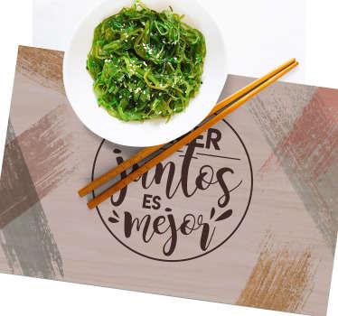 Manteles rectangulares de frase  inspirador que recuerda a todos la importancia de comer juntos. Fácil de limpiar ¡Envío a domicilio!