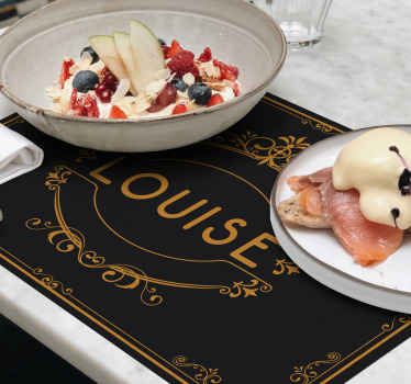 Full of elegance black placemats with the name of your choice. Those can be your new reastaurant placemats. Easy to clean!