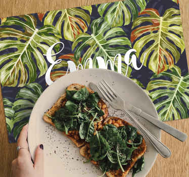 Order this stunning green vinyl placemats and make all of your meals a spectacular piece of art thanks to this table mat with a name.