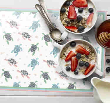 Surprise your kids at dinner time with these fantastic children vinyl placemats with a design of many cute turtles in soft colors.