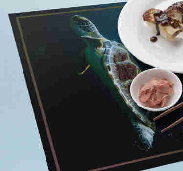 Make your dinner time an interactive and fun time with these amazing turtle vinyl placemats with a realistic image of a turtle swimming.