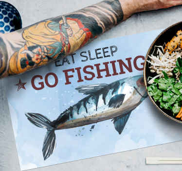Vinyl placemats with fish and the motivational message that summon up to eat, sleep and go fishing will be perfect for your tables. High quality!